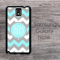 Grey aqua chevron circle monogram Samsung hard case