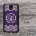 Vintage lace and purple monogram  Galaxy Note hard case