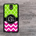 Lime and hot pink circle monogram custom Galaxy Note case
