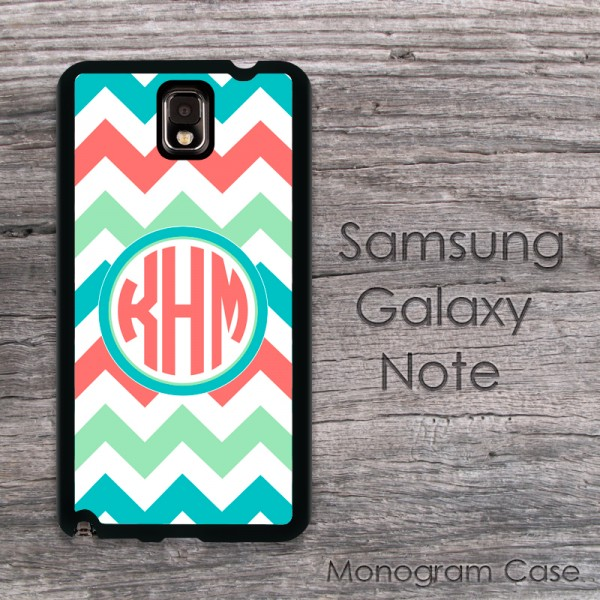 Mint coral turquoise zig-zag chevron monogrammed case cover