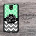 Monogrammed mint quatrefoil dark gray zig-zag Samsung Galaxy Note