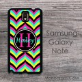 Retro multicolor chevron name or monogram Samsung case
