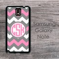 Pink dark grey chevron circle monogram Samsung cover case