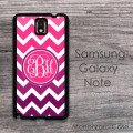 Ombre effect purple hot pink monogrammed Galaxy Note