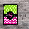 lime green and magenta chevron  design iPad mini cover