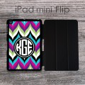 Bold colorful chevron iPad mini flip monogrammed case