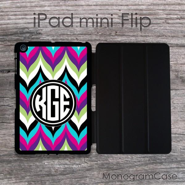Bold colorful chevron iPad mini flip monogrammed case