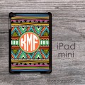 Classic aztec pattern iPad mini case monogrammed with circle font