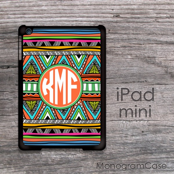 Classic aztec pattern iPad mini case monogrammed with circle font