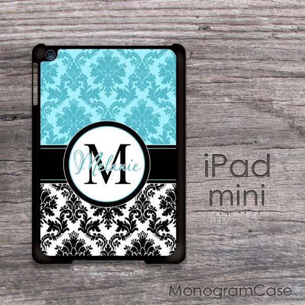 Black and turquoise damask iPad mini customizable