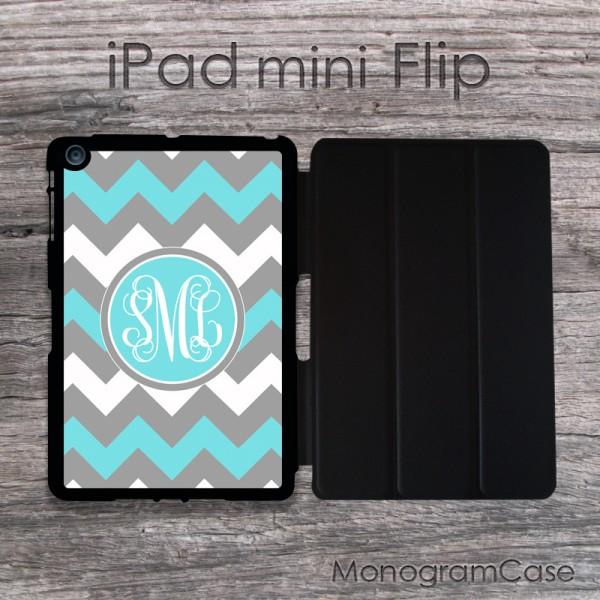 iPad mini case - grey and soft blue chevron with fancy monogram