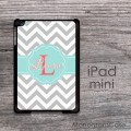 Light blue labeled iPad mini case with gray chevron