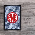 Designer greek key pattern for iPad mini case with circle monogram