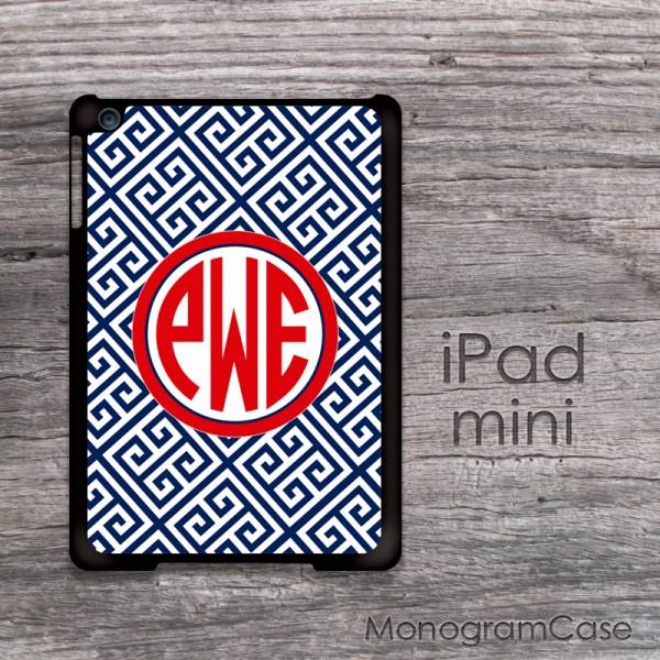 Designer greek key pattern for iPad mini case with circle monogram