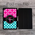 Hot pink and teal name or monogrammed iPad flip case