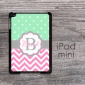 Hot pink chevron iPad case with tiny polka dots