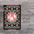 Boho chick pattern design for iPad mini case with monogram