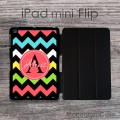 Multicolor monogram chevron personalized iPad flip case