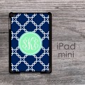 Navy blue quatrefoil pattern mint circle iPad mini case
