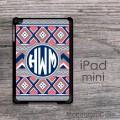 Boho coral  design monogrammed iPad case