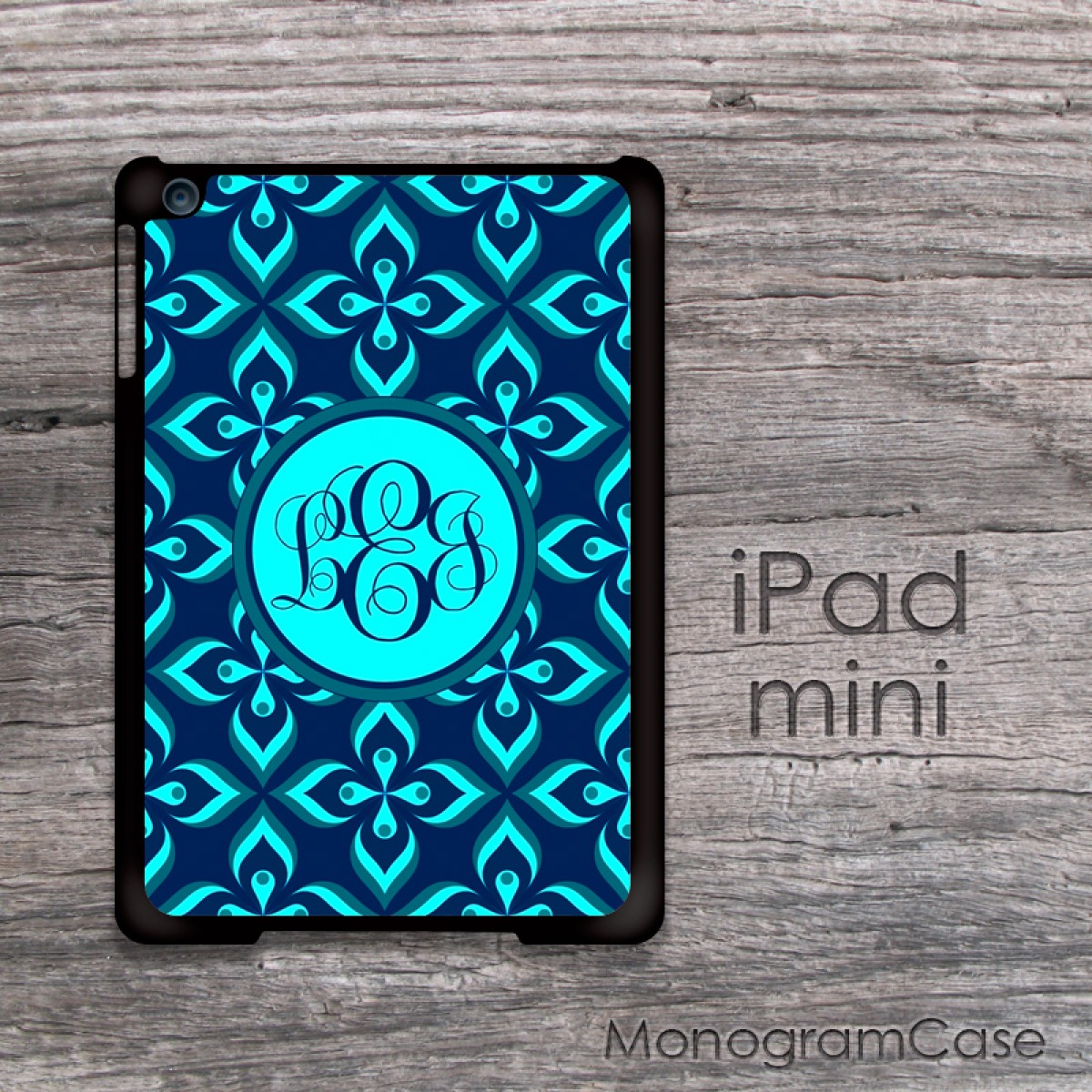 Aqua Blue Abstract Fl Pattern Monogram Ipad Mini Case