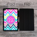 Personalized iPad mini Flip case with party colors zig-zag