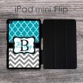 Quatrefoil teal and chevron gray customized iPad Flip case