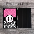 Smoky pink and black damask set on iPad mini Flip