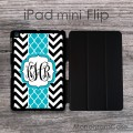 Turquoise shiny ribbon iPad mini Flip with chevron