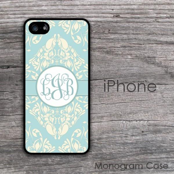 Cream and aquamarine blue stylish damask iPhone case cover