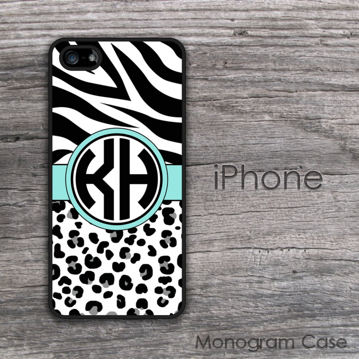 Image of: Printable Monogramcasecom Animal Print Aqua Ribbon Monogrammed Iphone Case Monogramcasecom