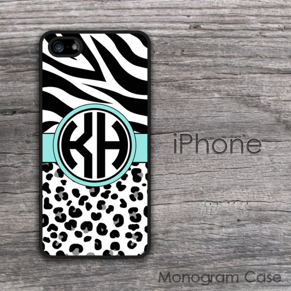 Animal print zebra and cheetah aqua ribbon monogrammed iPhone case