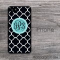 iPhone hard case - black quatrefoil soft blue customized