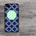 Modern iPhone case with blue pattern and mint circle