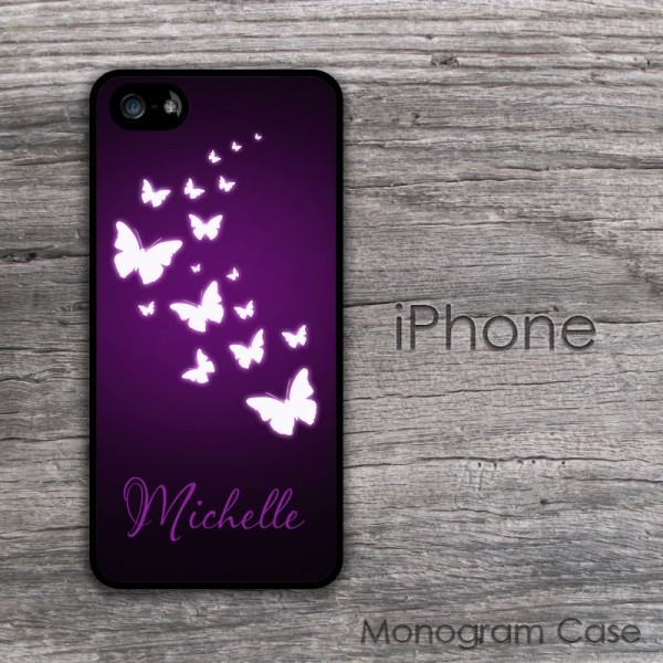Customized purple iPhone hard case with little butterflies