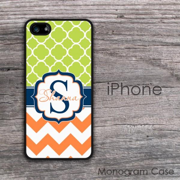 Clovers apple green pattern tangerine chevron iPhone cover case