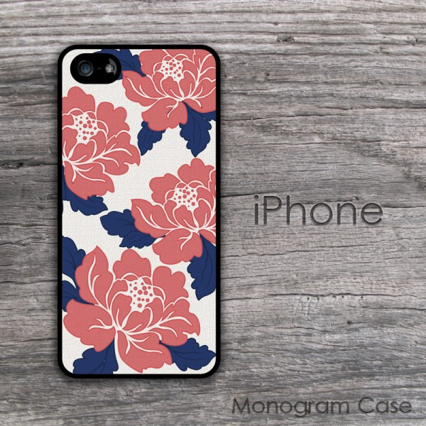 Coral peonies print iPhone case cover
