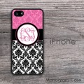 pink damask and black  baroque design iPhone hard case