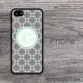 Grey clovers pattern with monogram iPhone 5 S case