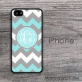Dark grey white and turquoise zig-zag monogrammed phone case
