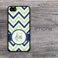 Deep blue lime chevron customized iPhone case