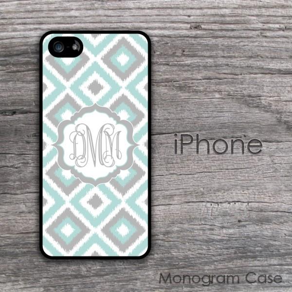 Diamonds ikat design light colors monogram case cover