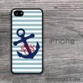 Dusk blue stripes navy sloped anchor monogrammed case