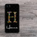 Floral initial flowers design custom iPhone cases