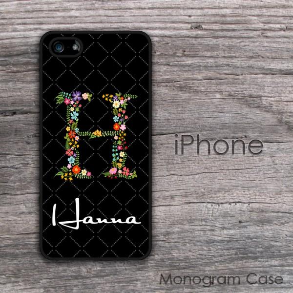 Floral initial flowers design custom iPhone cases