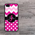 Hot pink polka dots chevron iPhone 6 hard case