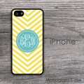 Monogram case with mustard yellow chevron and teal  circle