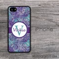 Monogram case with purple and grey damask