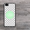 Gray  quatrefoil background with lime green circle iPhone case