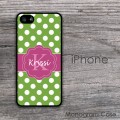 Kelly green polka dots pink ribbon personalized iPhone